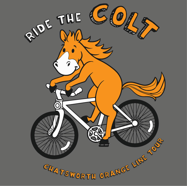 Ride the COLT mascot for the Chatsworth Orange Line Tour, by Veronica Guzzardi